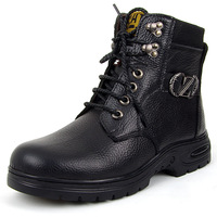 Free shipping Men's boots  plus size winter fashion high-top shoes genuine leather wool boots one piece snow boots non-slip