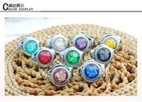 Free Shipping 2pcs/lot Fashion Lady Girl Colorful stereo flower Round Elastic Quartz Finger Ring Watch Women