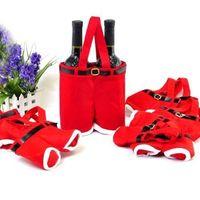 2 PCS Christmas Xmas Decorations Santa Pants Wine Organiser Holder Bags Gift Storage Handbag