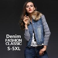 S-5XL !! 2014 new fashion women Autumn WINTER short denim DOWN jacket winter slim large fur collar denim outerwear jeans jacket
