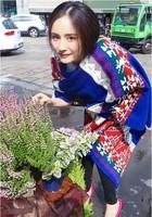 Yang Mi Milan same paragraph bohemian oversized knit wool scarf shawl