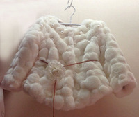 wholesale(5pcs/lot)-child girl autumn and winter  pearl folwer belt faux fur coat