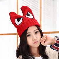 Knitted hat ear devil horn sweet pocket hat knitted hat winter hat