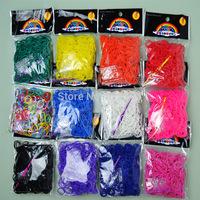 600 pcs x  10 bag= single color Rubber Bands Loom Bands Bracelet For DIY Loom Bands transparent / fluorescence color  BOS.L32