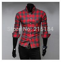 Mens dress shirts Free shipping camisa slim masculina M-XXL Men Long sleeve casual-shirts camisas masculinas