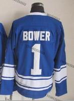cheap stitched ice hockey jersey  Toronto hockey jersey  #1 Johnny Bower  men's ice hockey jersey/ shirt