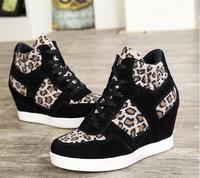 Womens Hightop Lace Up Hidden Heel Sneakers Women High Top Wedge Shoes Ankle Booties Black Leopard