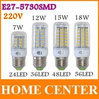 6PCS E27 SMD5730 LED Corn Lamps 24Led 36Led 48Led 56Led LED Bulb Light 7w 12w 15w 18w Wall Downlight Pendant High Bright