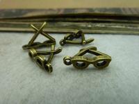 100Pcs Antique Bronze Tone Glasses Charms DIY Jewelry Making