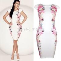 Freeship Top Quality 5T5103 M,L XL,XXL 2014 New Women Print Dress Elegant Brand Pencil Dress High Street Evevning Party Dress