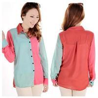 2014 new Promotions hot trendy cozy women blouse shirts jacket T-shirt Fashion sweet Korean Women splicing spell color shirt
