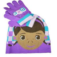 Doc McStuffins Doctor Girls Kids Hat & Gloves 2Pieces Set Girls Winter Gloves & Mittens Baby Boys & Girls Hats & Caps