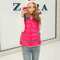 Cotton vest 2014 female winter new short paragraph cotton Ma Jianv Korean fashion hooded down cotton vest