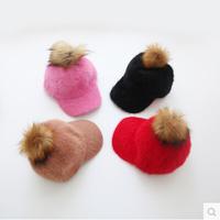 HT-1459 free shipping 100% rabbit hair girls winter hats  Fur children  baseball caps  kids accessories