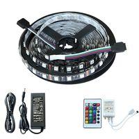 Black PCB 5m RGB 5050 SMD 300 LED Strip Light&24&44 Key Remote&12V 5A power