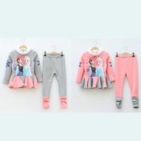 freeshipping!2014 anna elsa Children Clothing Sets Frozen Pattern T-shirt & Heart Pant Conjunto Toddler Girls Clothing 5set/lot