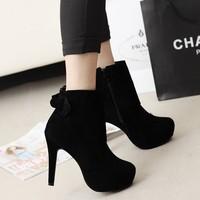 2014 autumn ultra high heels boots bow platform martin boots pointed toe thin heels boots