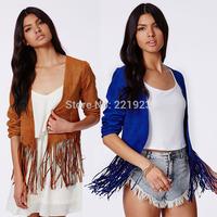 Fashion explosion models jacket! Unique design suede fringed hem no buckle jacket women short paragraph coat  XS - 2XL