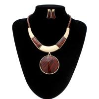 Bib Resin Round Pendant Jewelry Set Statement Necklace Earrings
