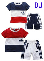D135 New Arrival short sleeve t-shirt +shorts baby Boy girl clothing sets children Leisure suit kids' Boys' T-Shirts sports wear