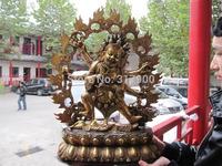 Tibet Folk Fane Buddhism Bronze Gild Six Arm Hands Mahakala Buddha Statue