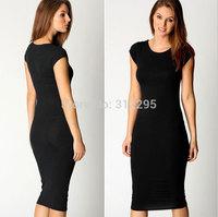 Freeship Top Quality 5T5116 S M,L XL,XXL 2014 New Women Long Pencil Dress Solid Brand Fashion Lady Dress Evening Party Dress