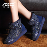 Snow boots female boots cotton-padded shoes paillette short winter boots 2014 spilliness snow shoes
