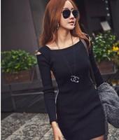 2014 Autumn Winter New Women's Sexy Strapless  Slim Hip Gray /Black Long-sleeve One-piece Dress  M/L/XL/XXL Free Shipping #0013