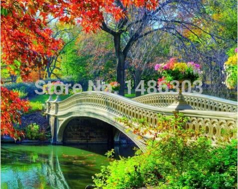 Autumn Bridge Painting Forest Bridge to Autumn