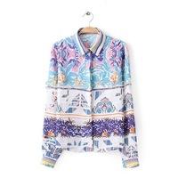 2014 new fashion women Positioning Colorful graffiti floral printed blouse Fashion girl casual long sleeve shirt #J421