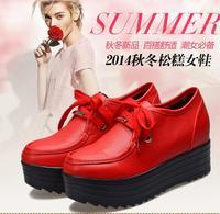 Platform elevator lacing deep mouth single shoes female low-top platform shoes round toe casual shoes women's