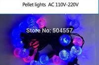 Free shipping 110-220V Pellet shape Christmas led string Lights 5m/50leds RGB light for Holiday/Party/Decoration