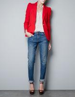 Wholesale 2014 new fashion women long sleeve blazer black red coats with gold button short fit coat blazer feminino