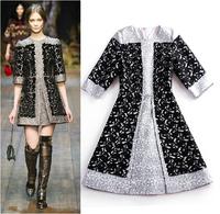 2014 Brand Desigual Cotton Women Dress Winter Jacquard Embroidery Slim Black Silver Splice Leaves Jacket Queen Evening Dresses