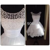 Elegant Scoop Neckline Short Prom Dresses 2014 vestido de formatura Open Back Lace Evening Party Gowns
