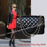 2014 Genuine Leather Jumbo Double Flaps Bag 58600 Black Lambskin Leather Bag with Gold Hardware Jumbo Bag Flaps High Quality