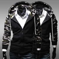 Best selling New Recreational Sports Fashion Camo Collar Slim fit Men's Jackets, Men's Sweater WY0089
