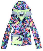 2014 Gsou Snow womens colorful printing ski jacket snowboard jacket for women ladies waterproof snow parka skiwear anorak XS-L