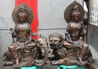 Tibet Buddhism Copper Bronze Manjusri Manjushri Samantabhadra Guan Yin Kwan-yin