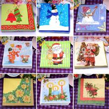 2014 NEW 330X330MM tissue paper napkin paper printing handkerchiefs for wedding birthday  favors gift Christmas series (China (Mainland))