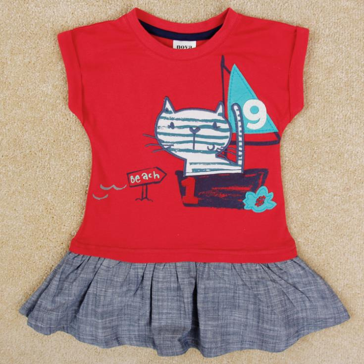 New arrival Kids & Baby lovely girl dress summer casual embroidered cat baby girls dress H5233(China (Mainland))