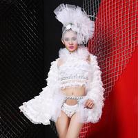 New style Fashion gauze costumes set nightclub female singer ds costume dj show performance wear