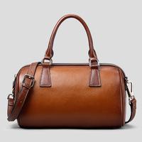 Women's bag Vintage Concise design Boston Women Handbag 100% Genuine leather bag for women Fashion Brown 2015