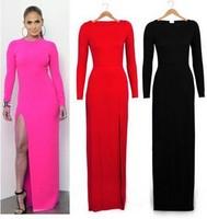 Red Vestido Longo 2014 New Autumn Women's Sexy Split Long Dress Casual Shaped Black Elegant Maxi Dress Full Sleeve XXL XL L 032