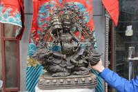 24 Tibet Buddhism Copper Bronze Vaishravana Treasure Heavenly King Buddha Statue
