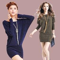 Spring and autumn 2014 women's plus size slim long-sleeve basic slim hip  autumn batwing sleeve one-piece dress