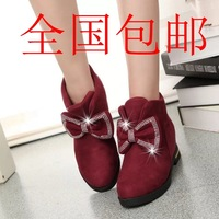 Korean version of sweet butterfly knot inside shoes flat heel boots Martin boots single boots increased  autumn boots leather bo