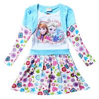 Free shipping!Frozen Dress Elsa & Anna Autumn Dress baby Girl 2014 New Princess Dresses Brand Girls Dress  for baby