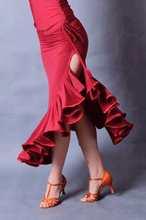 Exotic dance ballroom dancing Latin dance unilateral drawstring dew leg big pendulum Latin exercise skirt S12058