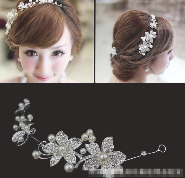 New 2015 New Silver Rhinestone Bridal Wedding Flower Pearls Headband Hair Clip Comb